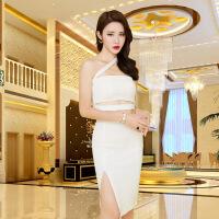 新款短款性感抹胸单肩小礼服时尚夜店女装韩版气质束腰包臀连衣裙