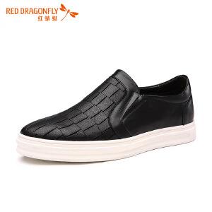 红蜻蜓男鞋 春秋新款套脚休闲皮鞋 真皮纯色潮流乐福鞋耐磨皮鞋