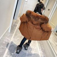 女童棉衣装2017新款韩版儿童加厚羽绒中长款棉袄洋气外套潮 焦糖色 现货