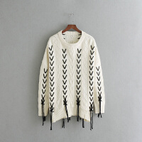 女装秋冬新款麻花手工绑带中长款针织衫女欧美风毛衣女