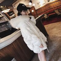 白色大毛领羽绒服女中长款2018冬新款韩版宽松茧型加厚ins面包服 均码