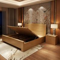 现代新中式实木床1.8米主卧双人床1.5米经济型高箱储物床榉木婚床