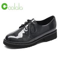 红蜻蜓coolala2017秋季新款休闲皮鞋舒适潮流女鞋粗跟平底鞋单鞋