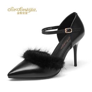 金粉世家 红蜻蜓旗下 秋冬新品高跟鞋细跟性感真皮百搭尖头女单鞋