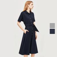 网易严选 女式时尚棉质收腰短袖连衣裙