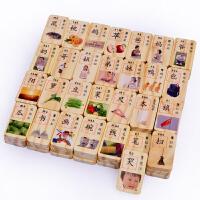 儿童早教益智积木1-2-3-4-5-6周岁双面100片汉字识字幼教积木玩具