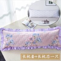 君别韩版夹棉双人花边枕套加枕芯1.5米棉加厚枕头1.8米棉长枕套装