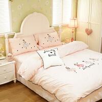 60支床上四件套纯棉三件套女孩被套床单公主风上下床床笠儿童床品 1.5m(5英尺)床 床笠款
