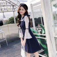 2018新款女装秋冬韩版网纱牛仔吊带连衣裙背带时髦两件套套装裙子 上衣+牛仔裙