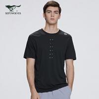 七匹狼T恤男2020夏季新款运动纯色圆领男士体恤男装潮流短袖上衣