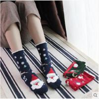 圣诞袜子女礼盒红色韩版学院风纯棉中筒袜秋冬季加厚长筒棉袜