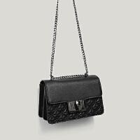 女包2018新韩版菱格压纹小香风单肩锁扣风琴包斜挎链条小方包 黑色