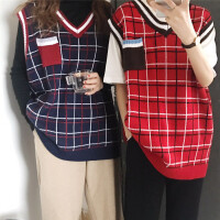 春装新款韩版百搭显瘦拼接格子V领无袖针织衫马甲女中长款毛衣