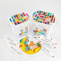 双头记号笔 椭圆白色笔杆12 24 36 48 60 80色双头马克笔2020新款绘画动漫色系记号笔涂鸦笔