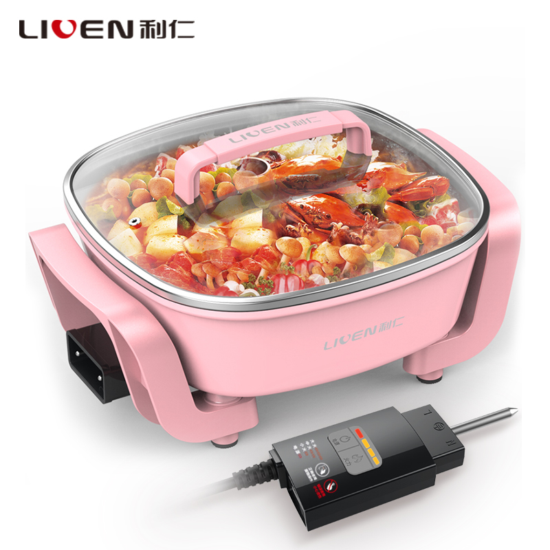 【当当自营】利仁(Liven)DHG-T2600F 电火锅(粉色)糖果系列 3.7L【货到付款】支持礼品卡 真正做到可调温的电火锅 360°加热 加厚不粘锅体 全身水洗