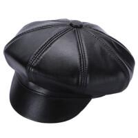 绵羊皮八角帽男士圆顶鸭舌帽秋冬季户外休闲保暖帽子