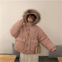大毛领宽松棉衣面包服女冬季2018新款学生加厚短款棉袄外套潮 均码