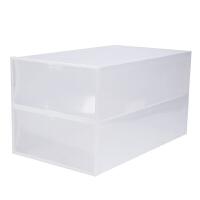 家居日用透明塑料鞋盒鞋子收纳用品鞋盒子收纳盒鞋箱长靴抽屉式鞋柜鞋收纳 无孔翻盖 白色长靴款2个 50.5x30x14cm