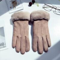 手套女冬可爱触屏韩版卡通日系学生麂皮绒保暖加厚防寒骑开车手套 均码