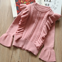 韩版女童装儿童喇叭袖圆领针织衫 2018春款儿童宝宝飞边淑女毛衣 粉色 飞边毛衣