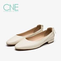 CNE2019春夏新款船鞋温柔鞋拼接后跟蝴蝶结奶奶鞋女单鞋AM15404