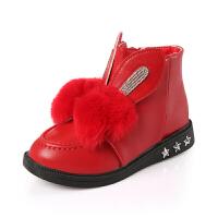 女童靴子公主短靴2017秋新款马丁靴女孩皮靴中童棉鞋雪地靴 红色
