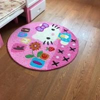 多彩手绣地垫脚垫防滑垫 可爱卡通儿童床边圆形地垫 圆形地毯