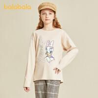 【3件4折:39.6】巴拉巴拉童�b�和�t恤2020秋�b新款女童�L袖上衣大童