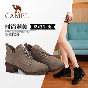 Camel/骆驼女鞋 2018冬季新品时尚简约系带休闲靴子粗跟保暖短靴