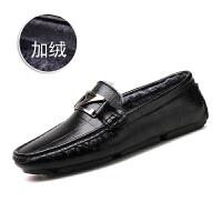 2017冬季新款男鞋欧洲站牛皮豆豆鞋真皮个性韩版加绒百搭加棉皮鞋