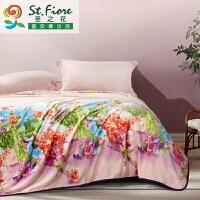 富安娜家纺 圣之花毛毯子春秋毯盖毯 超柔毯 法兰绒毯馨香