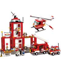 小鲁班 益智积木拼插玩具 拼装玩具 拼插模型儿童救援消防车 消防中心B3100