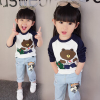 女童上衣2018春秋宝宝长袖T恤纯棉1-2-3-4-5岁 LXNT-青蛙打底衫