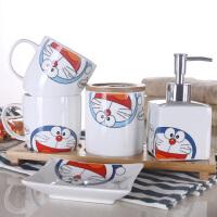 卫浴五件套陶瓷洗漱套装卫生间浴室刷牙杯情侣漱口杯套装 叮当猫 手柄五件套+1竹托盘