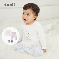 【1件5折价:79.5】安奈儿童装宝宝春季套装男女T恤裤子套装2021春新款婴幼儿连件套