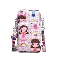 手机包包女2018新款韩版单肩斜跨小包挂脖手机袋装竖款手腕零钱包 藕色 粉娃娃手机包