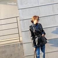 女士皮衣2018春装新款潮韩版百搭机车皮夹克黑色pu皮外套女春