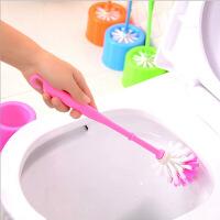 塑料彩色带底座马桶刷子套装韩国长柄厕所刷清洁刷去污洗厕所刷子底座洗厕所清洁颜色随机