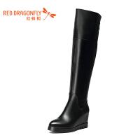 红蜻蜓女靴2016冬季新款平底休闲长靴女内增高厚底过膝优雅高筒靴