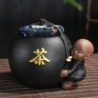 【家装节 夏季狂欢】创意陶瓷茶叶罐紫砂小和尚密封罐小号储存罐黑檀木六君子套装家用