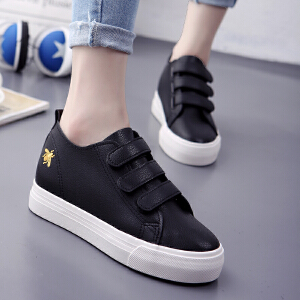 2018春季厚底小白鞋女皮面帆布鞋韩版系带休闲鞋平底板鞋女球鞋潮