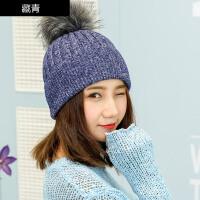 毛线帽子女冬天时尚韩版保暖潮毛球套头护耳秋冬季休闲百搭甜美针织帽