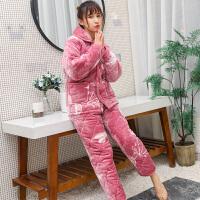 睡衣女冬加厚保暖三层夹棉可外穿珊瑚绒妈妈加绒大码法兰绒家居服