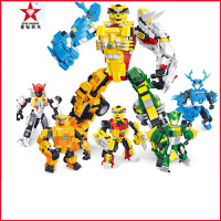 星钻积木猪猪侠拼装积木组合全套儿童益智拼装积木玩具铁拳虎合体