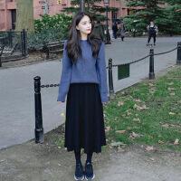 针织毛衣两件套连衣裙女秋冬2018新款中长款学生小清新套装长裙子 套装+黑针织半身裙