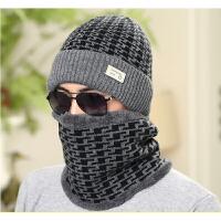 20180331012523489男士冬季韩版帽子围脖混纺针织毛线保暖帽冬天户外护耳骑车帽