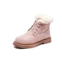 雪地靴女2018新款韩版短筒兔毛一体马丁靴女短靴学生二棉鞋加绒潮