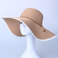 草帽女夏天韩版海边度假沙滩帽防晒遮阳帽大沿太阳帽可折叠春秋季