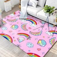 儿童房卡通地毯地垫可爱儿童房地毯 卧室女孩粉色公主卧室床边Kitty地垫宝宝可爱地毯 萝莉粉色 彩虹