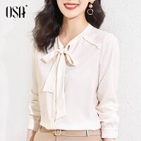 【2件3折到手价:149】OSA春装2021年新款女长袖蝴蝶结衬衫设计感小众叠穿衬衣别致上衣